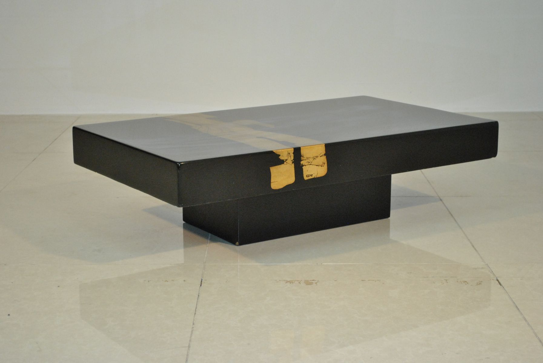 french lacquer & gold leaf coffee table, 1970s for sale at pamono