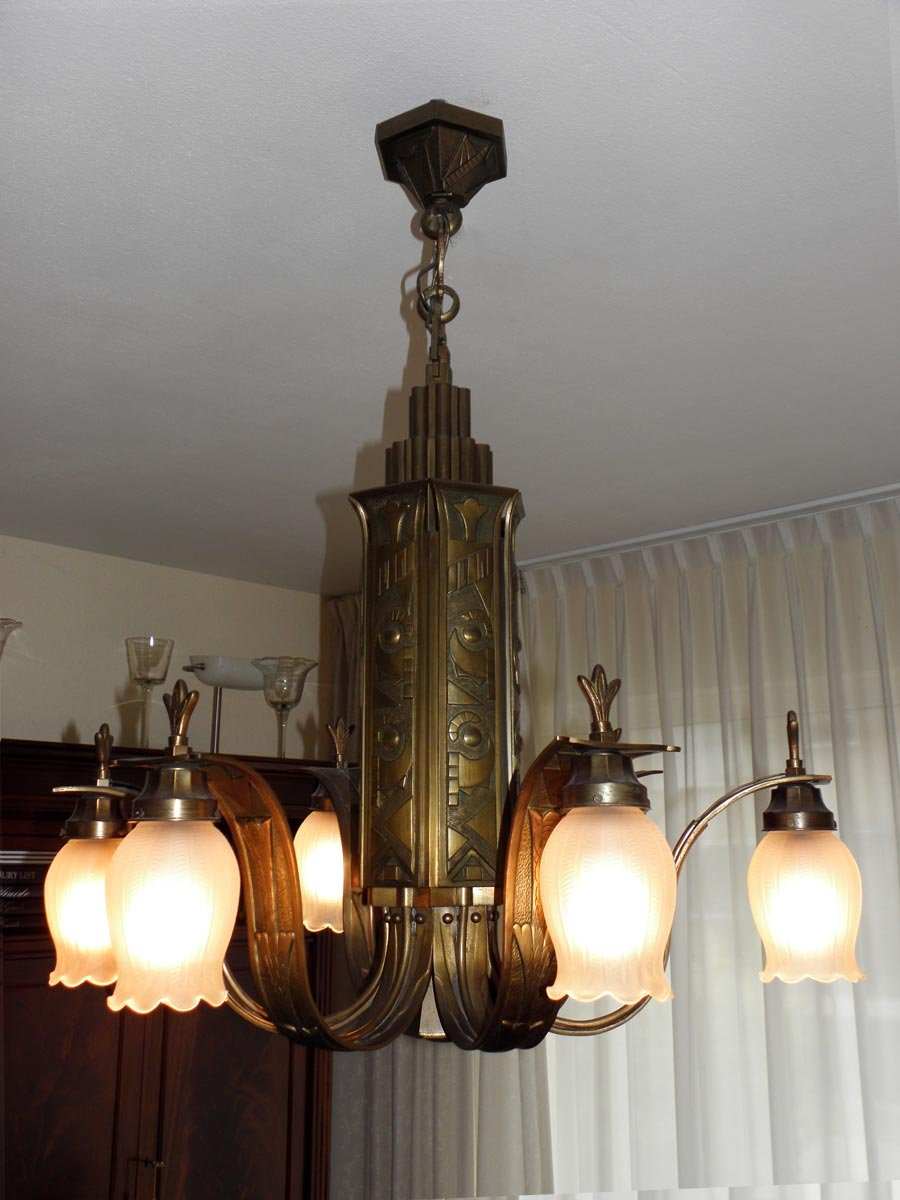 French art deco bronze chandelier 1920s for sale at pamono french art deco bronze chandelier 1920s arubaitofo Gallery