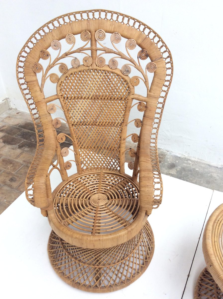 Vintage Indonesian Rattan Peacock Chair And Table 1970s