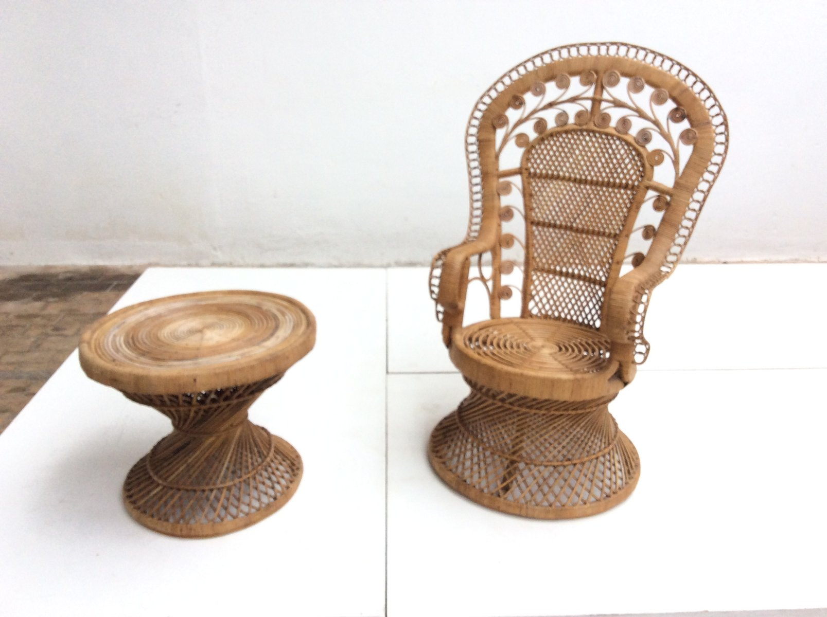 Vintage Indonesian Rattan Peacock Chair And Table, 1970s