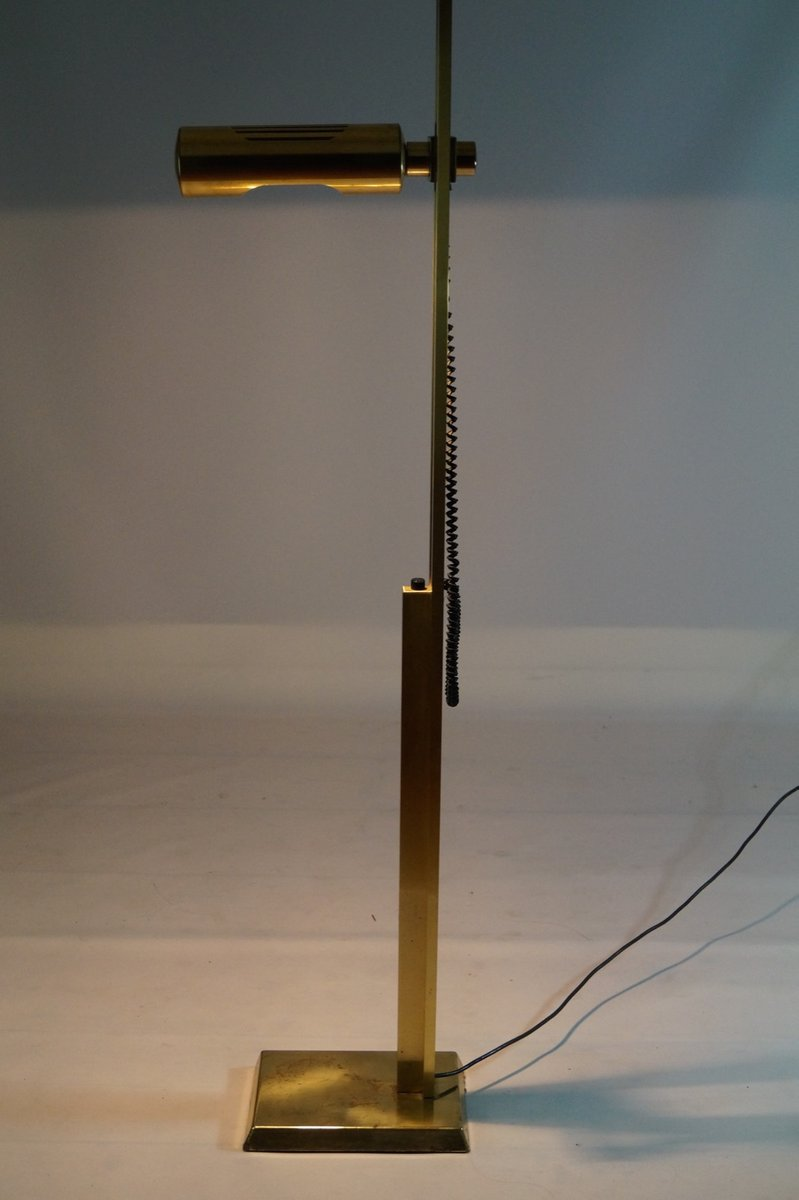 Adjustable brass floor lamp 1970s for sale at pamono for 1970s floor lamps