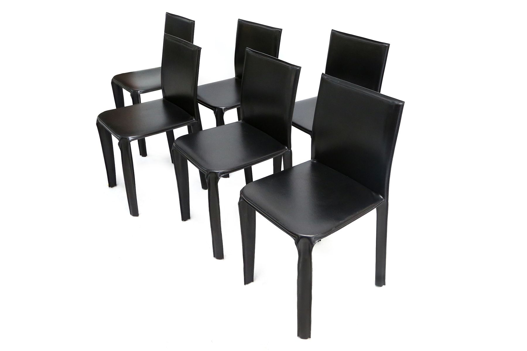 Black leather dining chairs from arper 1970s set of 6 for Black leather dining chairs