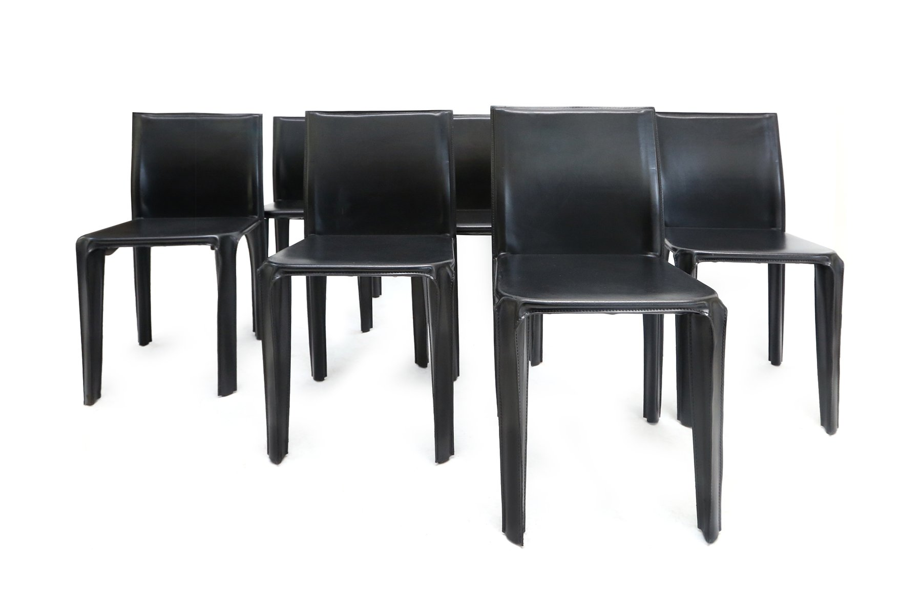 Black Leather Dining Chairs from Arper 1970s Set of 6 for sale