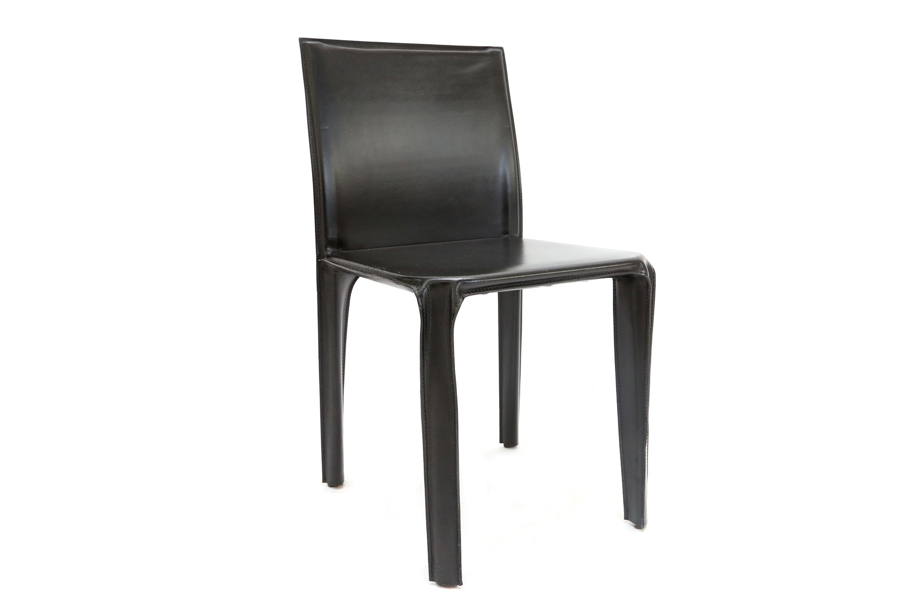 Black Leather Dining Chairs From Arper 1970s Set Of 6