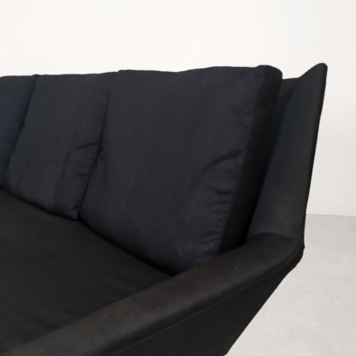 schwarzes drei sitzer sofa von wilhelm knoll 1950er bei pamono kaufen. Black Bedroom Furniture Sets. Home Design Ideas