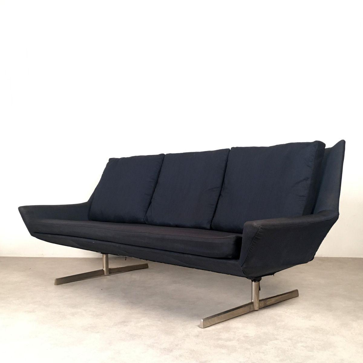 Schwarzes Drei Sitzer Sofa Von Wilhelm Knoll 1950er Bei Pamono Kaufen
