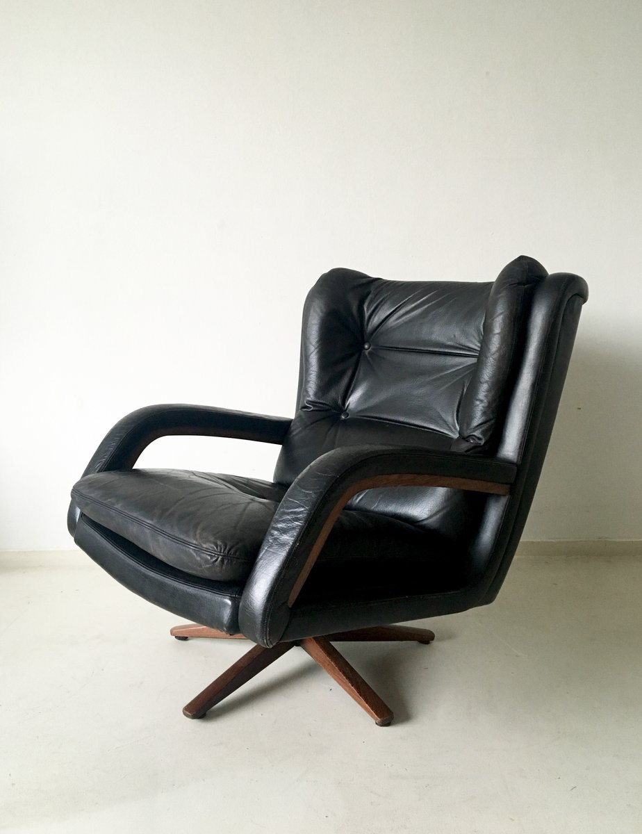 Mid Century Vintage Leather Lounge Chair 1960s For Sale