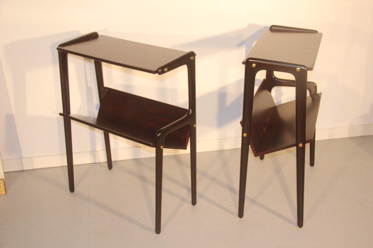 italienische beistelltische mit ablage aus holz 1950 2er. Black Bedroom Furniture Sets. Home Design Ideas