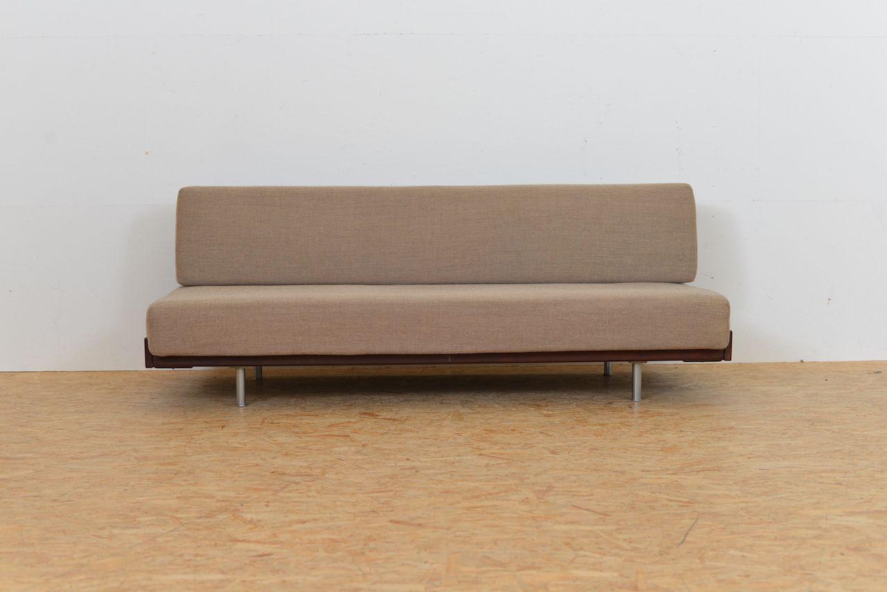 divan en tissu en acier tubulaire et en bois massif 1960s. Black Bedroom Furniture Sets. Home Design Ideas