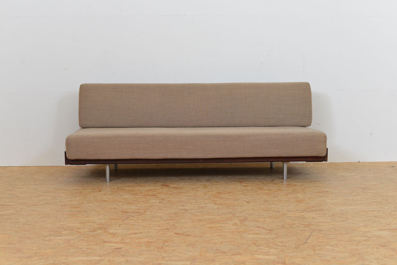 fabric tubular metal and solid wood daybed 1960s