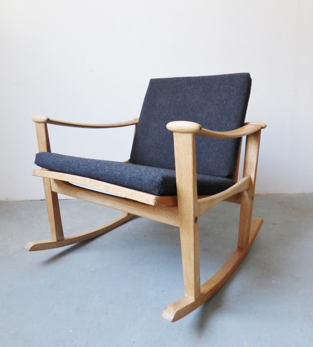 Superb img of Danish Oak Rocking Chair from M. Nissen Horsens 1950s for sale at  with #6B452F color and 1082x1200 pixels