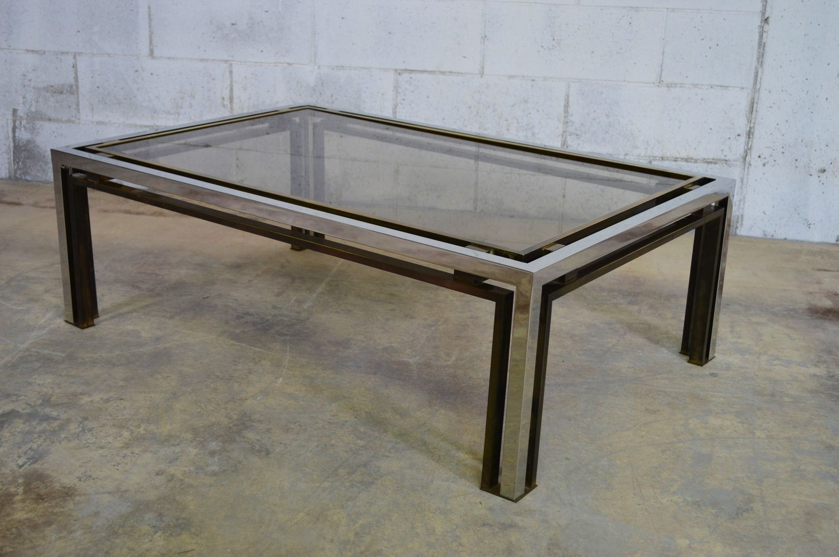Italian brass and chrome coffee table by romeo rega 1970s for previous geotapseo Images