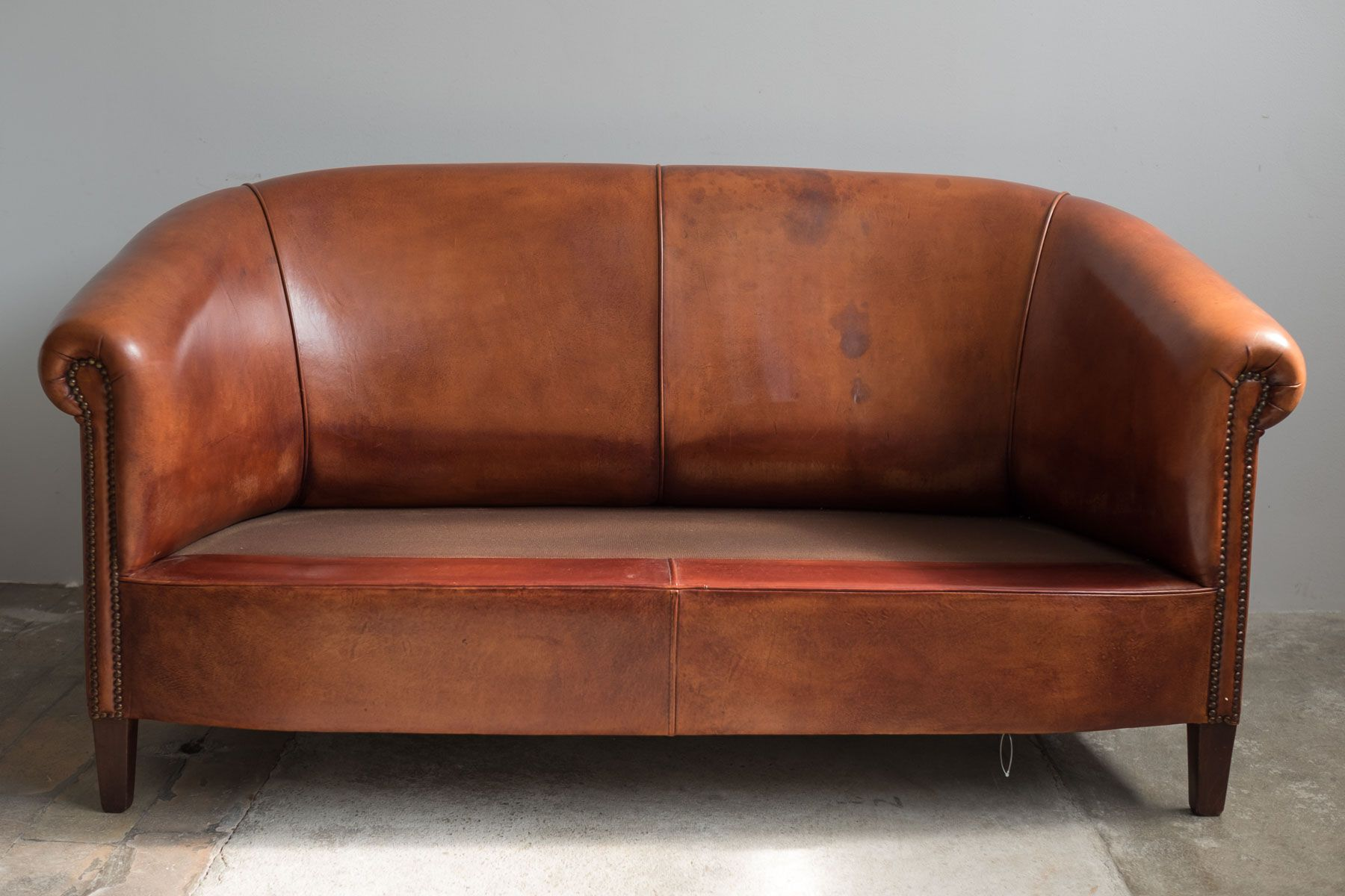 Vintage leather two seater sofa 1970s for sale at pamono for Vintage leather sofa