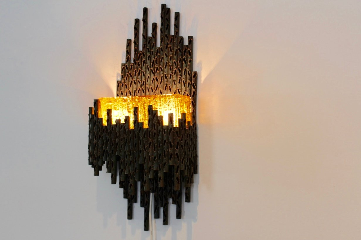 Brutalist Sculptural Wall Lamp by Marcello Fantoni for sale at Pamono
