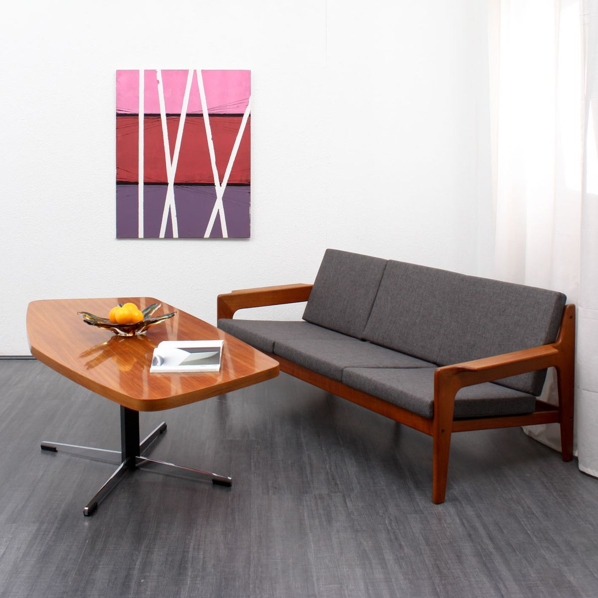 mid century danish teak sofa by arne wahl iversen for. Black Bedroom Furniture Sets. Home Design Ideas