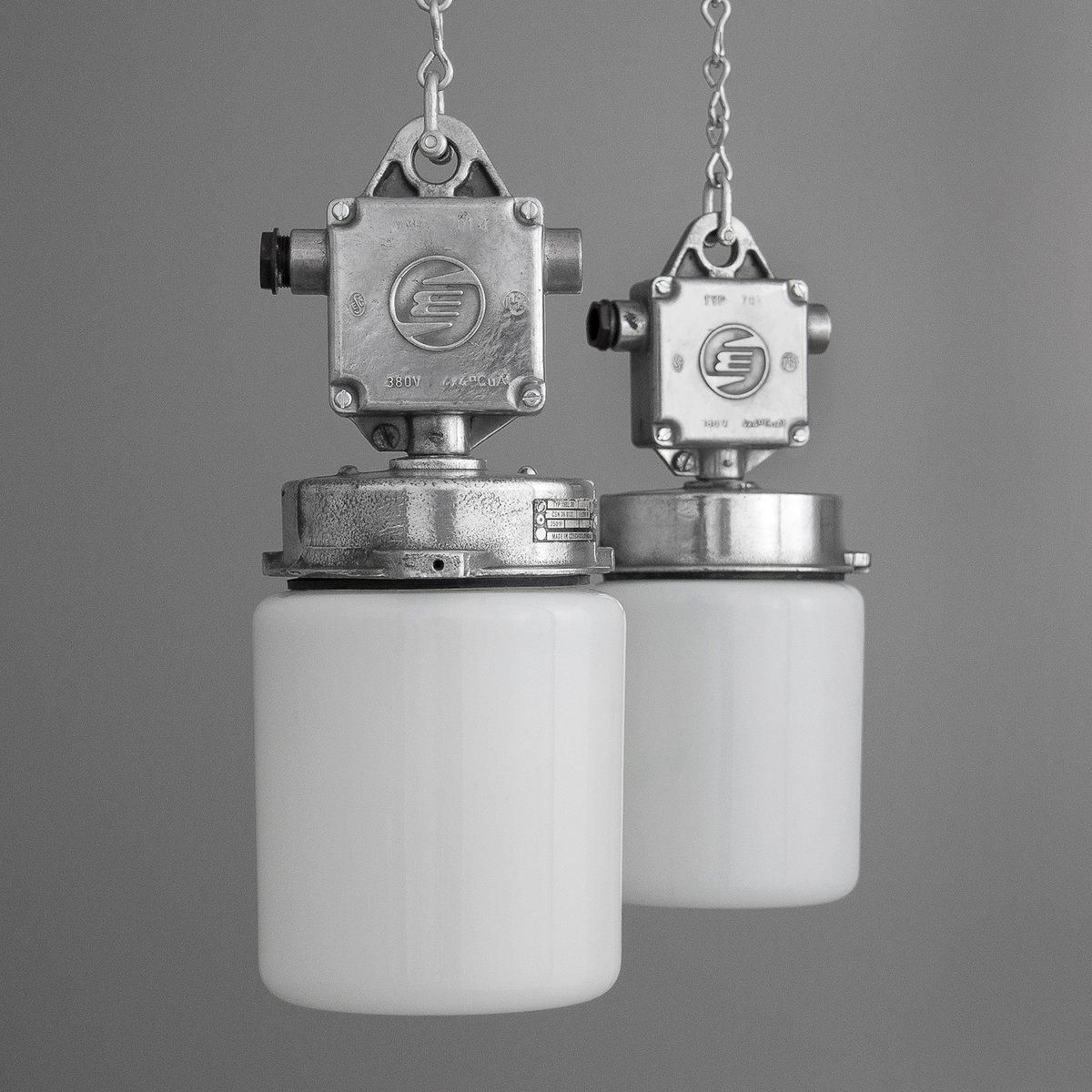 tschechische vintage aluminium glas h ngelampe bei pamono kaufen. Black Bedroom Furniture Sets. Home Design Ideas