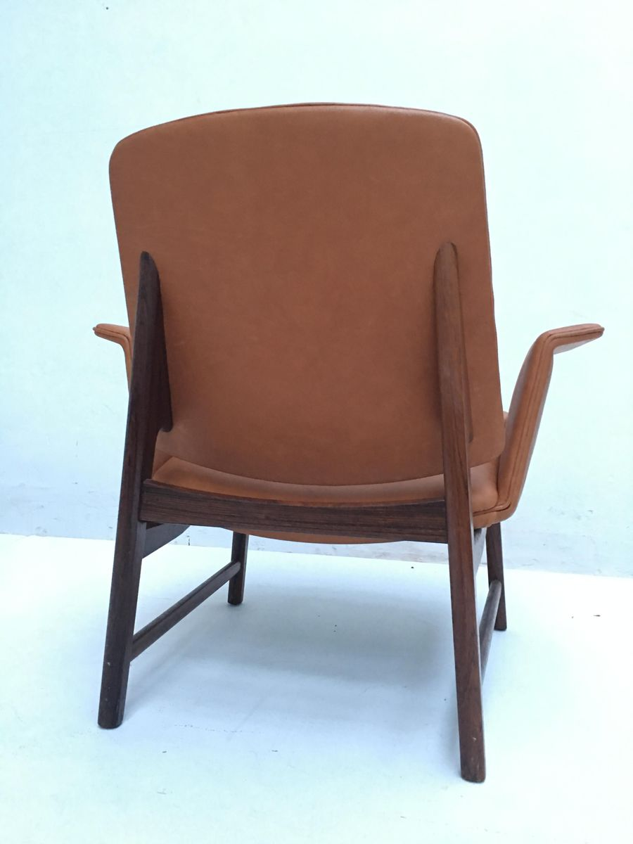 Superb Danish Rosewood U0026 Leather Chair By Hans Olsen, 1950s