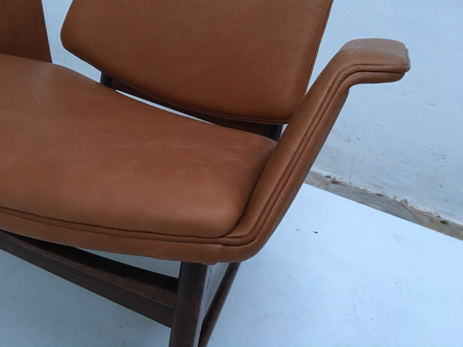 Danish Rosewood & Leather Chair by Hans Olsen 1950s for sale at