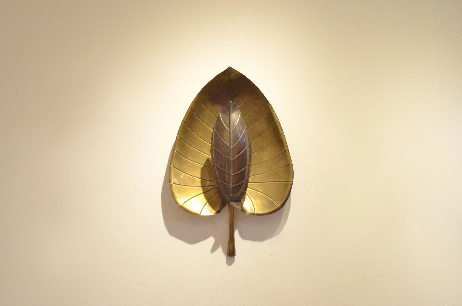 Mid Century Palm Leaf Brass Wall Sconce For Sale At Pamono