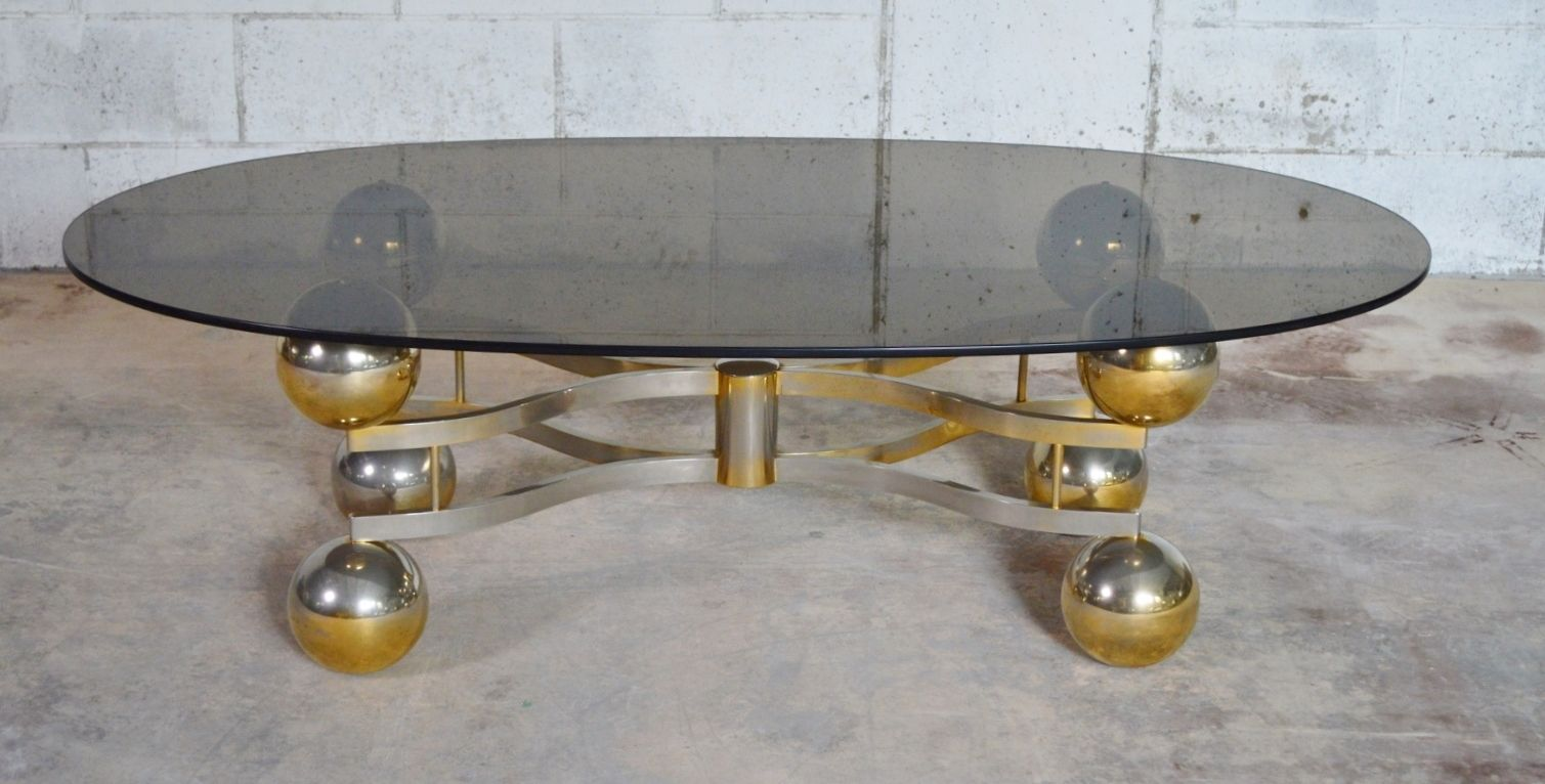 Space Age German Brass Smoked Glass Coffee Table 1970s