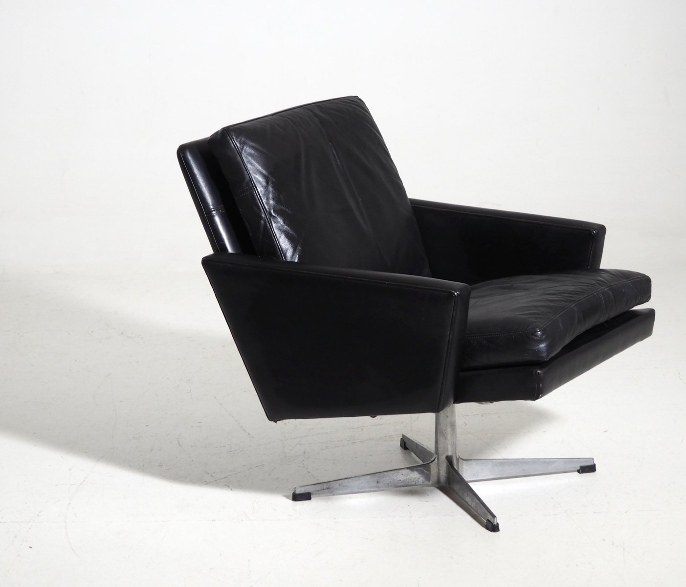 Danish Black Leather Lounge Chair 1960s for sale at Pamono