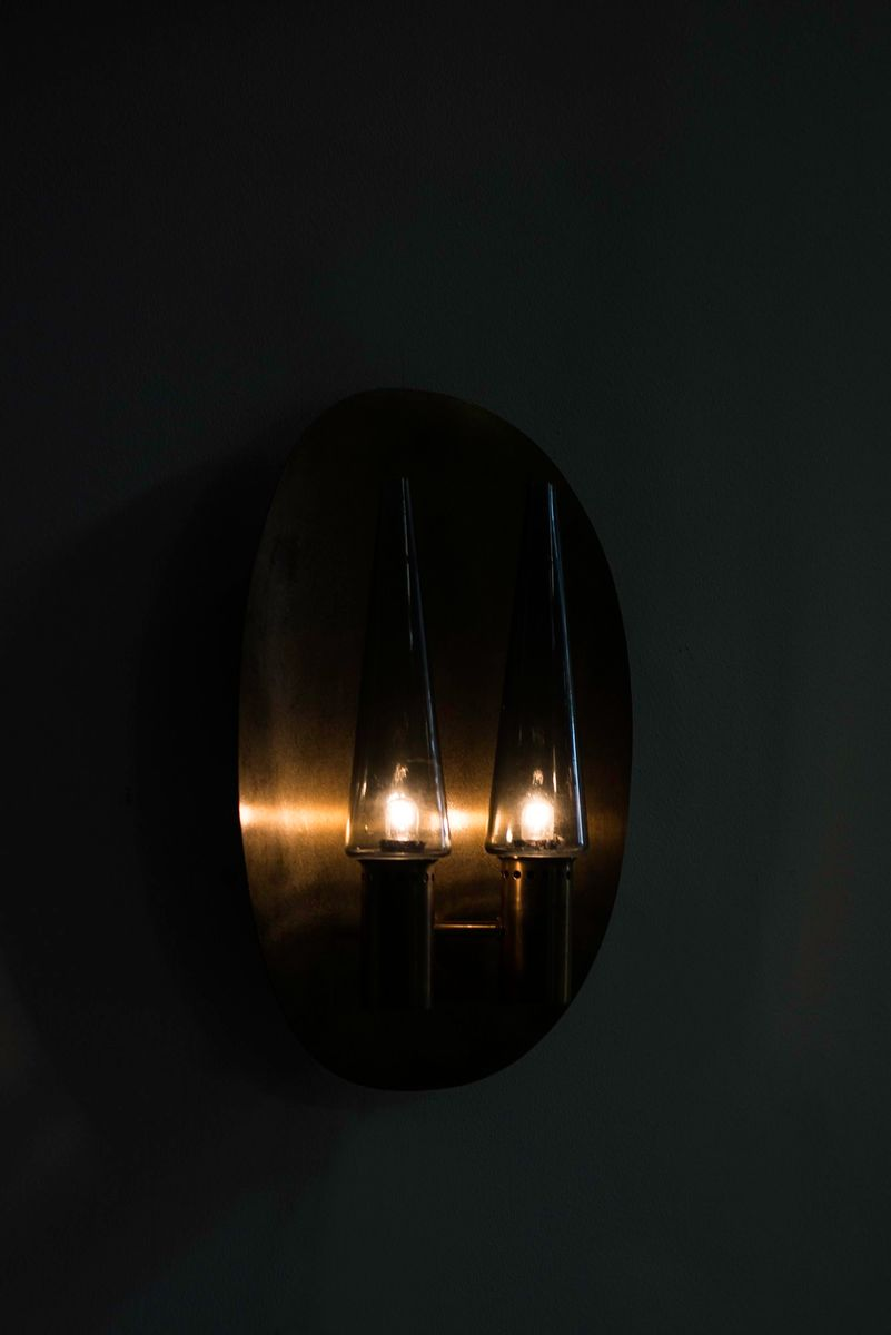 Brass and Glass Wall Lamp by Hans-Agne Jakobsson for sale at Pamono