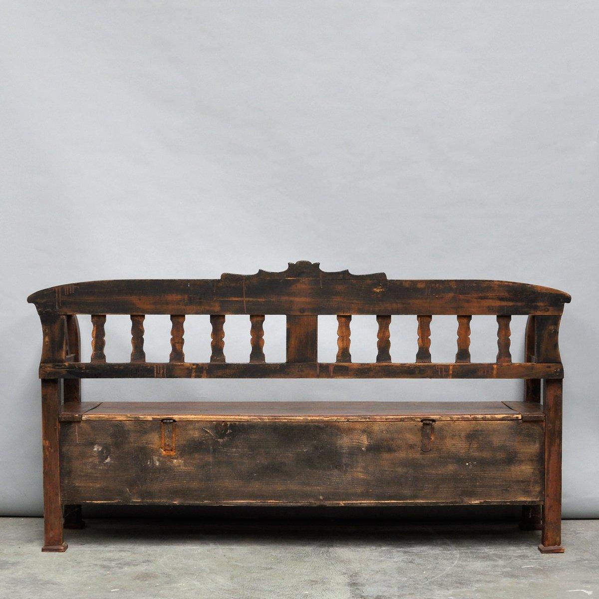 banc antique avec rangement en vente sur pamono. Black Bedroom Furniture Sets. Home Design Ideas