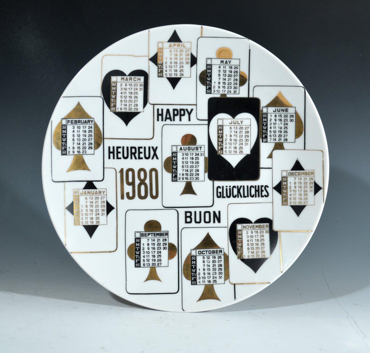 1980 kalender teller von piero fornasetti bei pamono kaufen. Black Bedroom Furniture Sets. Home Design Ideas