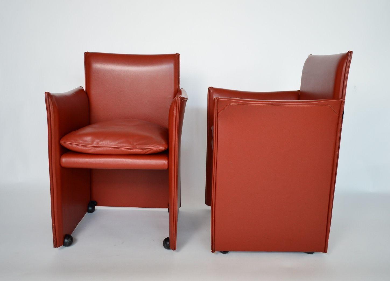 Rote ledersessel von mario bellini f r cassina 1980er for Roter ledersessel