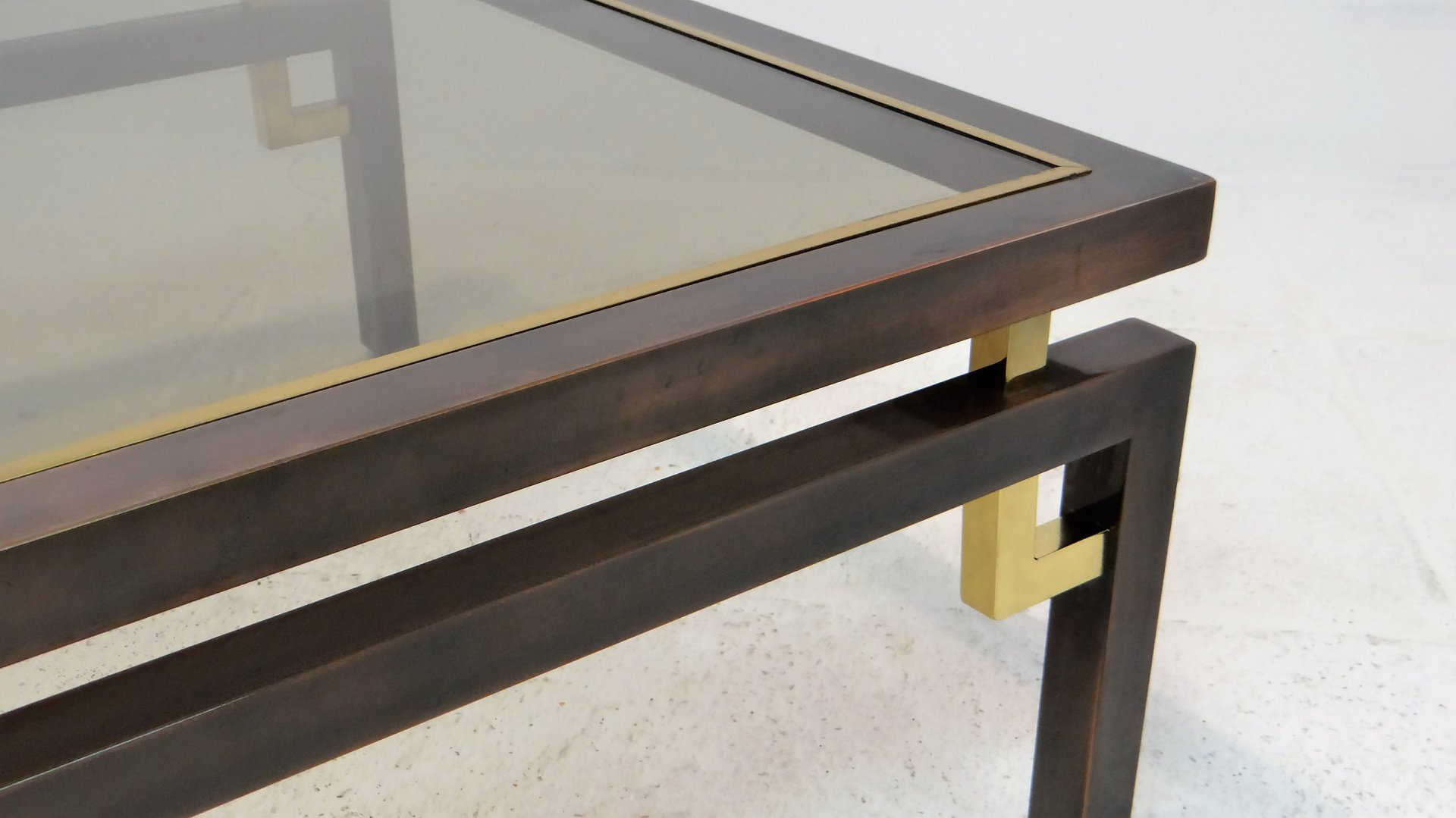 Vintage Brushed Bronze & Copper Coffee Table from Belgochrom for