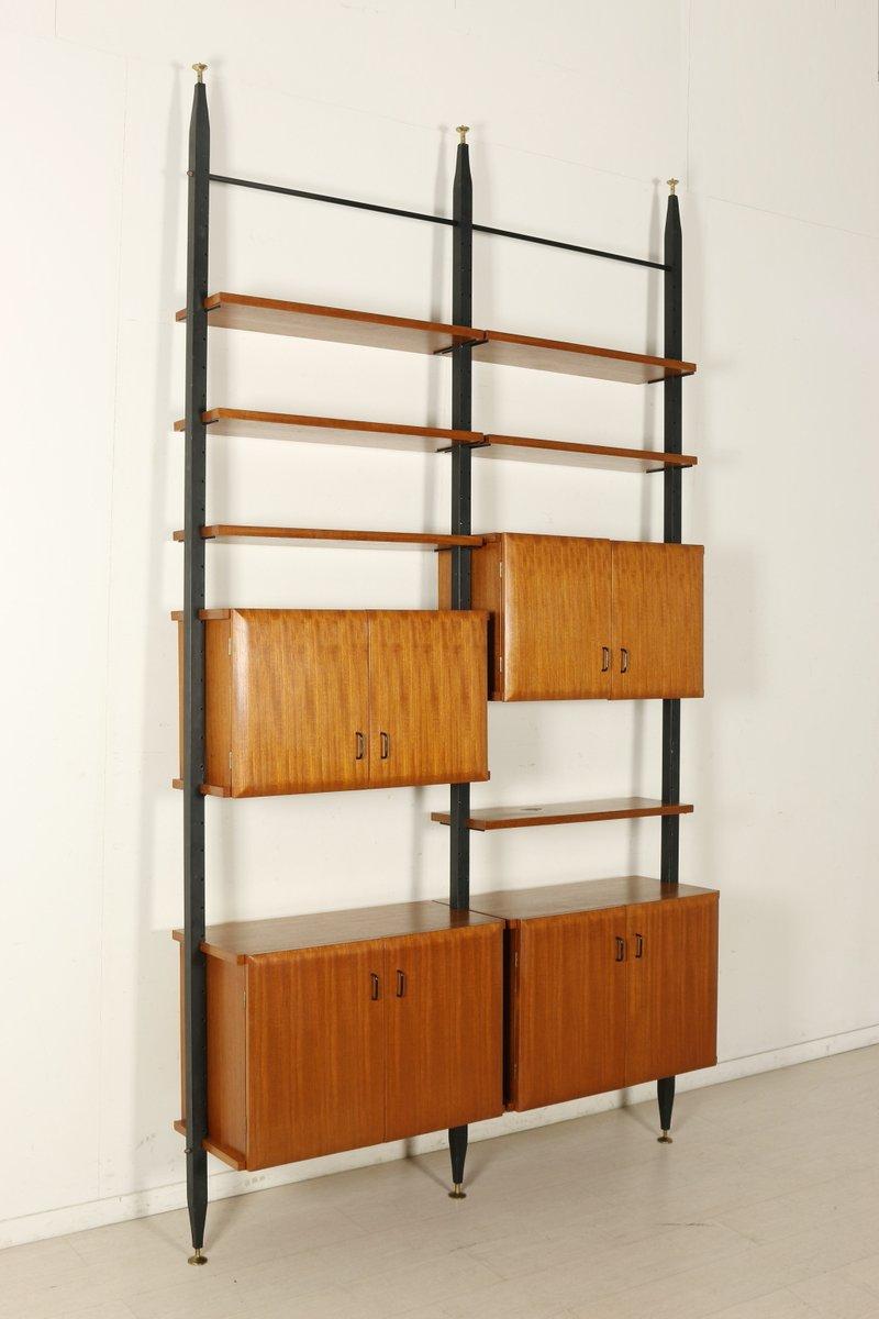 Adjustable Teak & Metal Floor-to-Ceiling Bookcase, 1950s ...