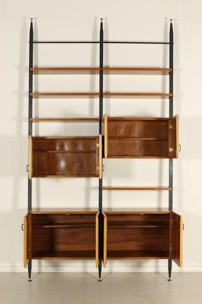 adjustable teak metal floor to ceiling bookcase 1950s for sale at pamono. Black Bedroom Furniture Sets. Home Design Ideas