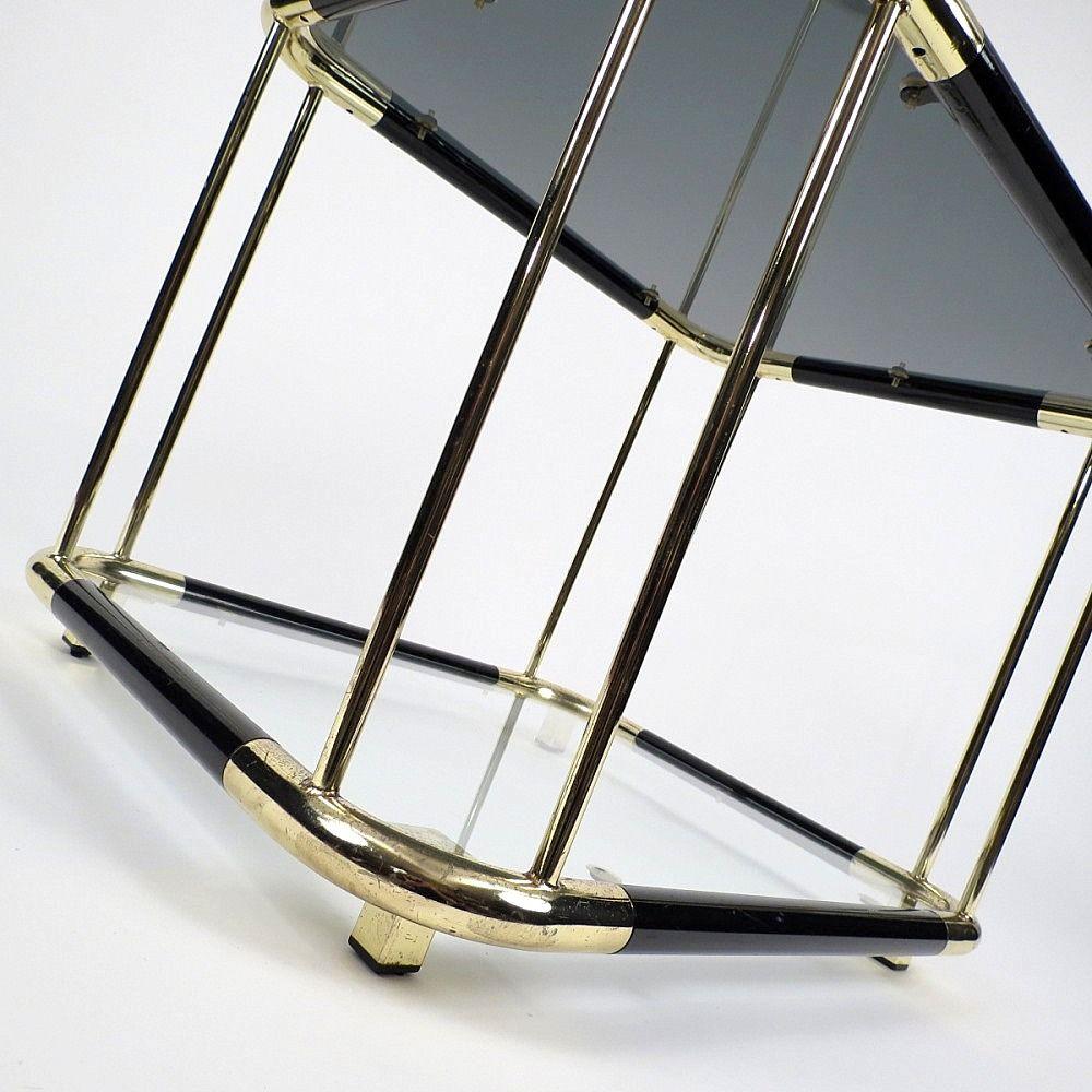 beistelltische aus messing glas 1970er 2er set bei pamono kaufen. Black Bedroom Furniture Sets. Home Design Ideas