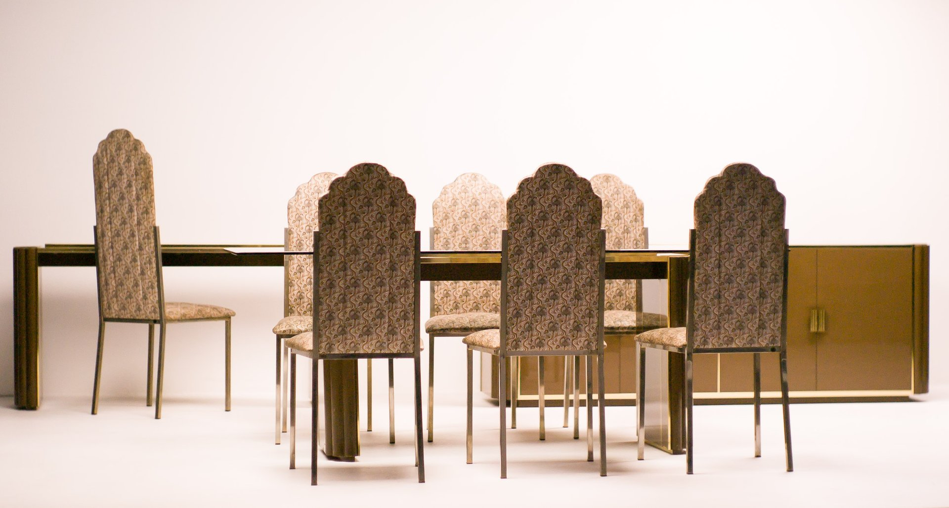 french dining room set by alain delon for maison jansen 1970s