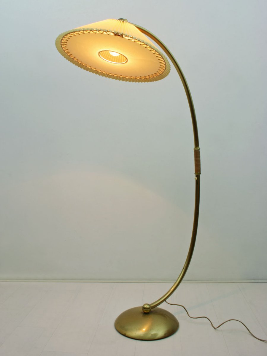 Mid-Century German Brass Arc Lamp with Adjustable Celluloid Shade ...