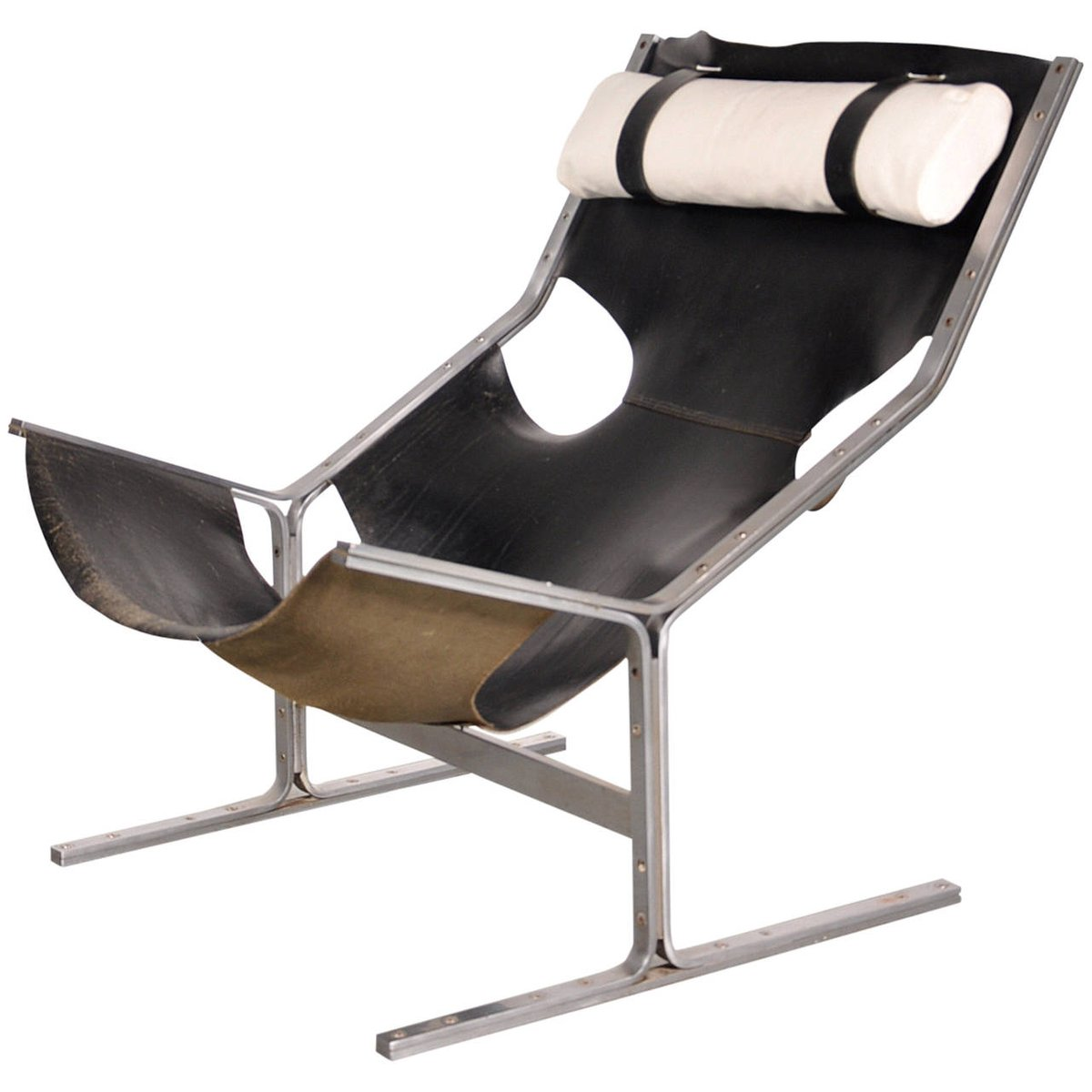 Dutch Leather Lounge Chair from Polak 1960s for sale at
