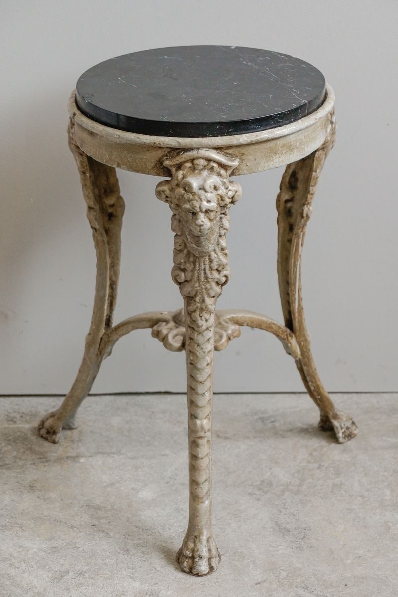 Iron Side Table ~ Small french cast iron marble side table with lion s