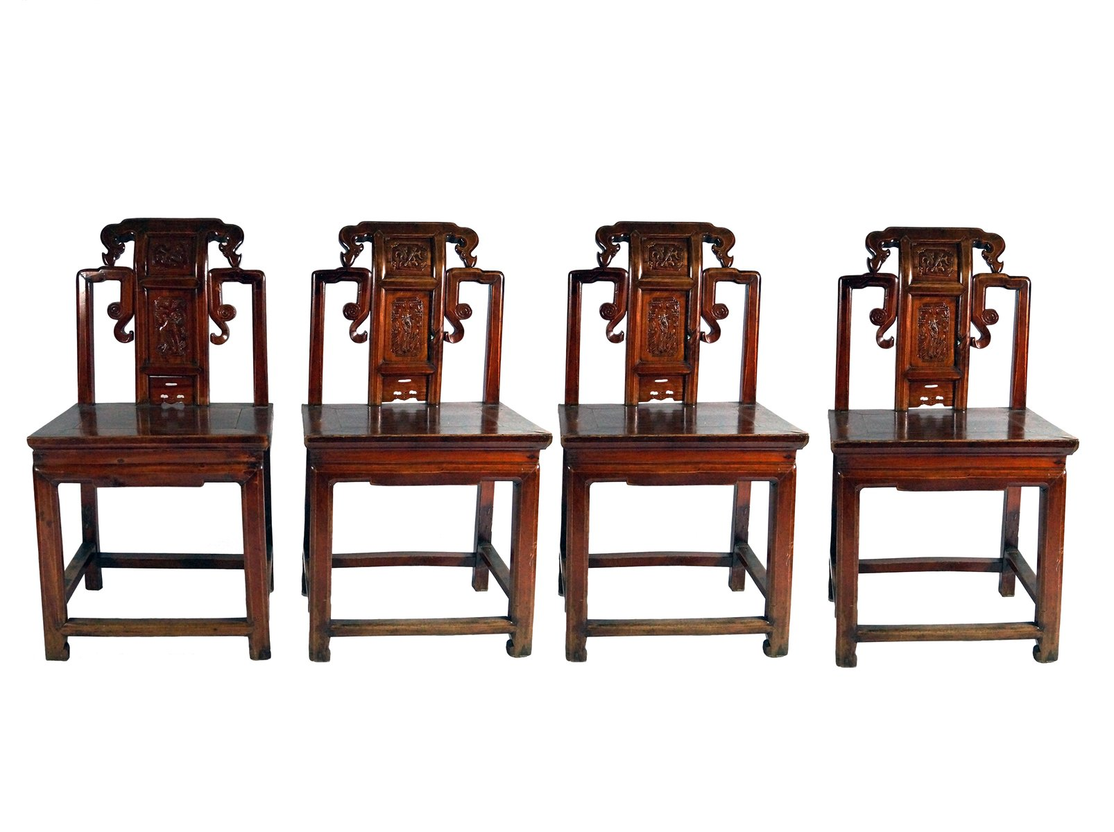 Antique Red Chinese Carved Wood Chairs 1860s Set of 4 for sale