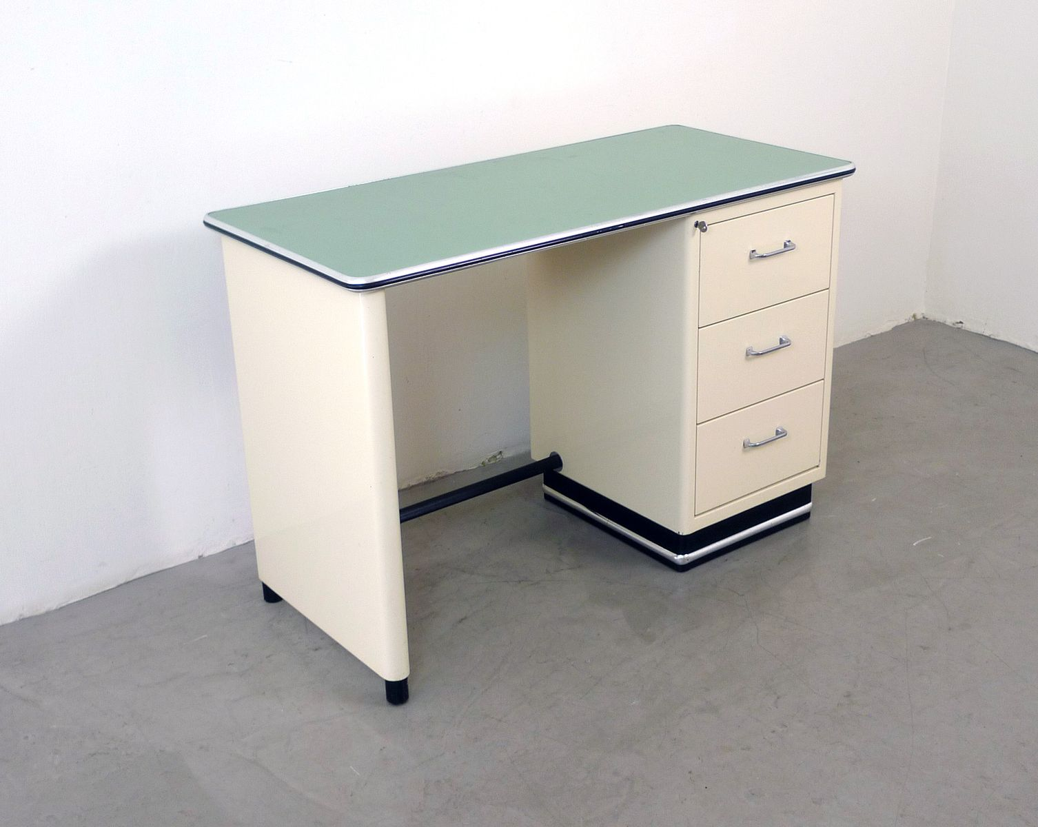 German Beige Metal Desk with Mint Green Plate from Baisch