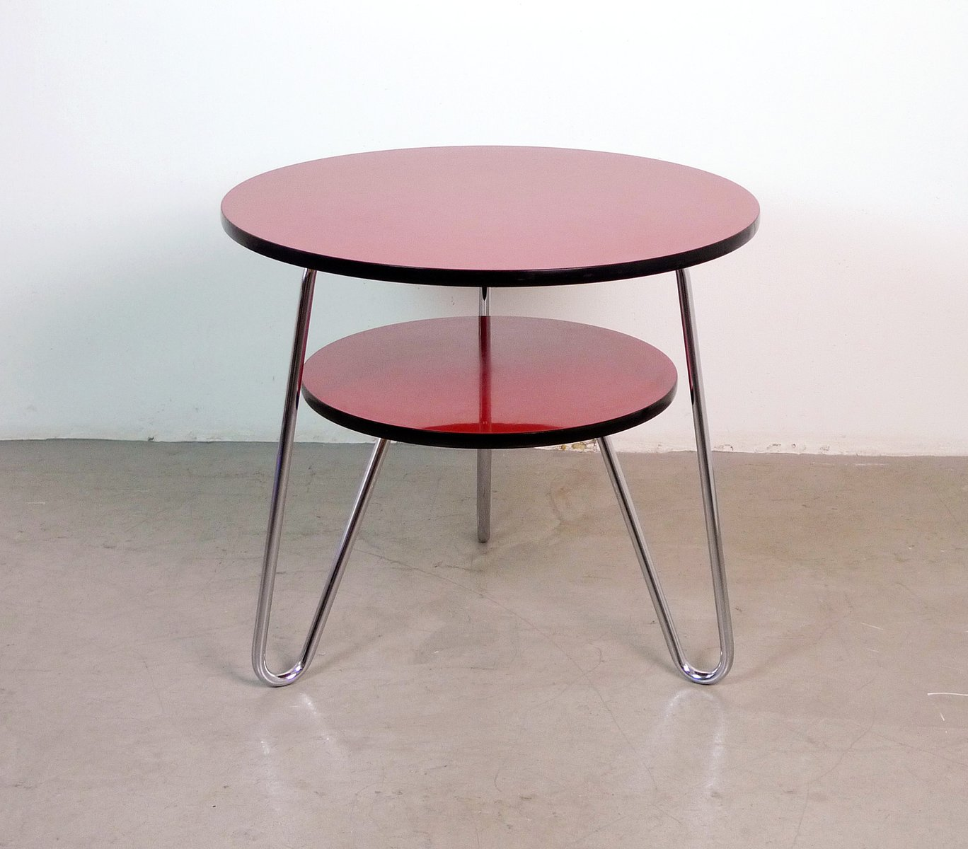Double Round Coffee Table German Round Double Tiered Coffee Table 1950s For Sale At