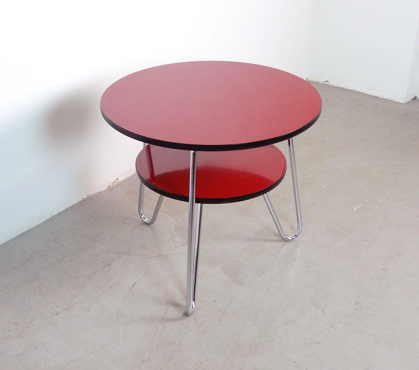 deutscher runder couchtisch mit ablage 1950er bei pamono kaufen. Black Bedroom Furniture Sets. Home Design Ideas