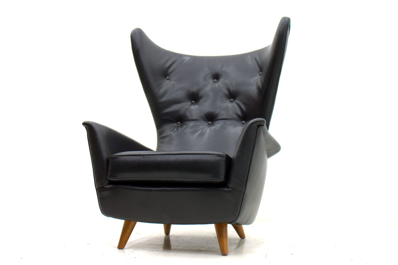 Black Leather Wing Lounge Chair 1950s For Sale At Pamono