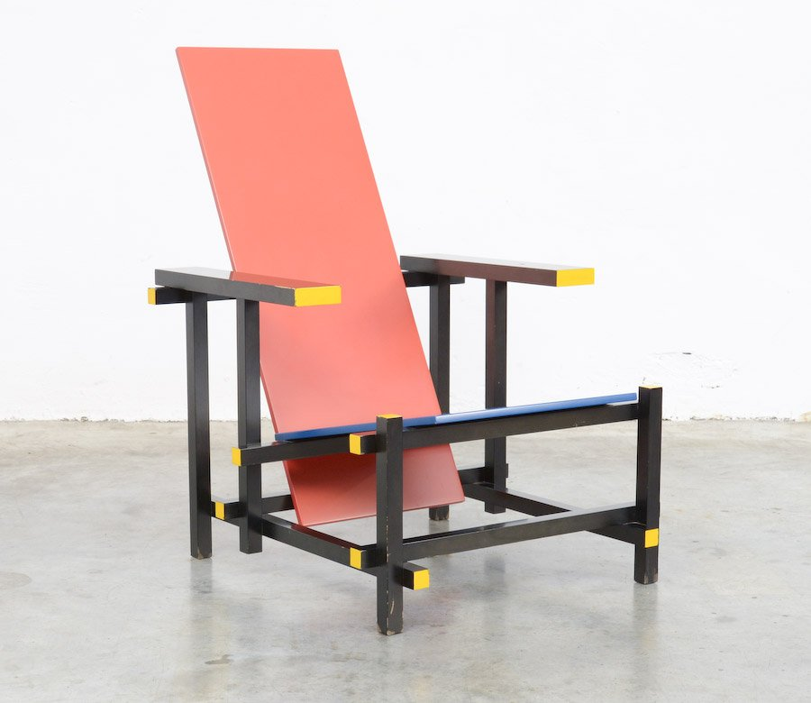 red blue chair by gerrit rietveld for cassina 1970s for sale at pamono. Black Bedroom Furniture Sets. Home Design Ideas