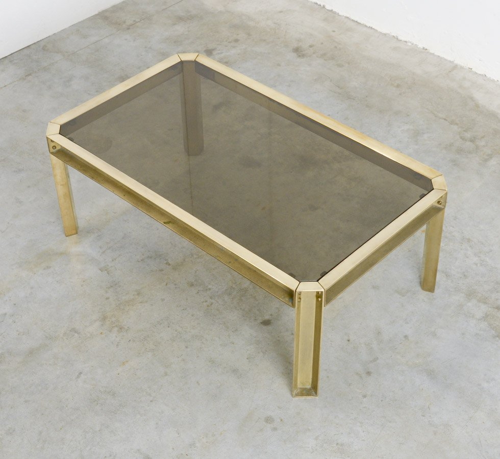 solid brass  smoked glass coffee table s for sale at pamono - solid brass  smoked glass coffee table s