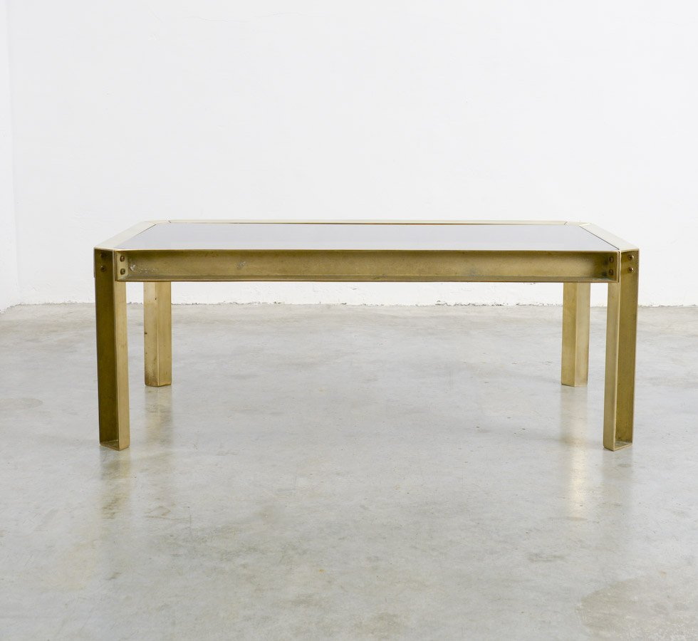 Solid Brass Smoked Glass Coffee Table 1970s For Sale At Pamono
