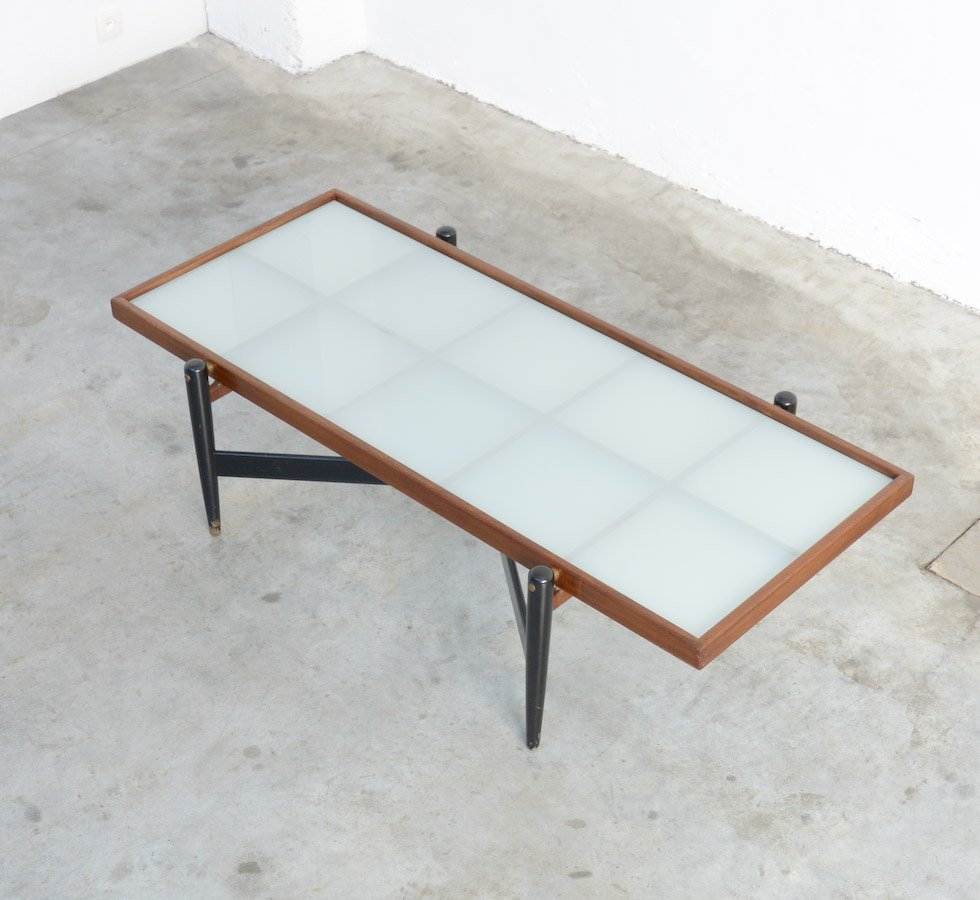Vintage Teak Coffee Table With Frosted Glass Top For Sale At Pamono