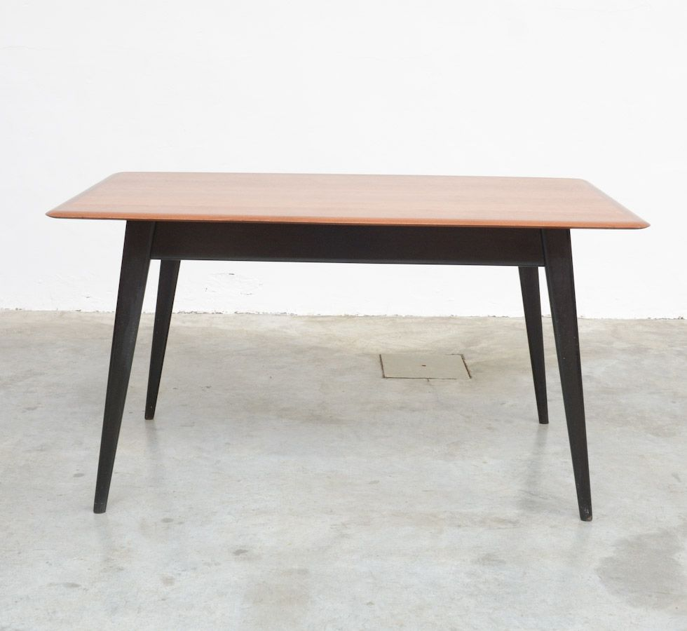 Mid Century Black Lacquered Teak Dining Table, 1950s