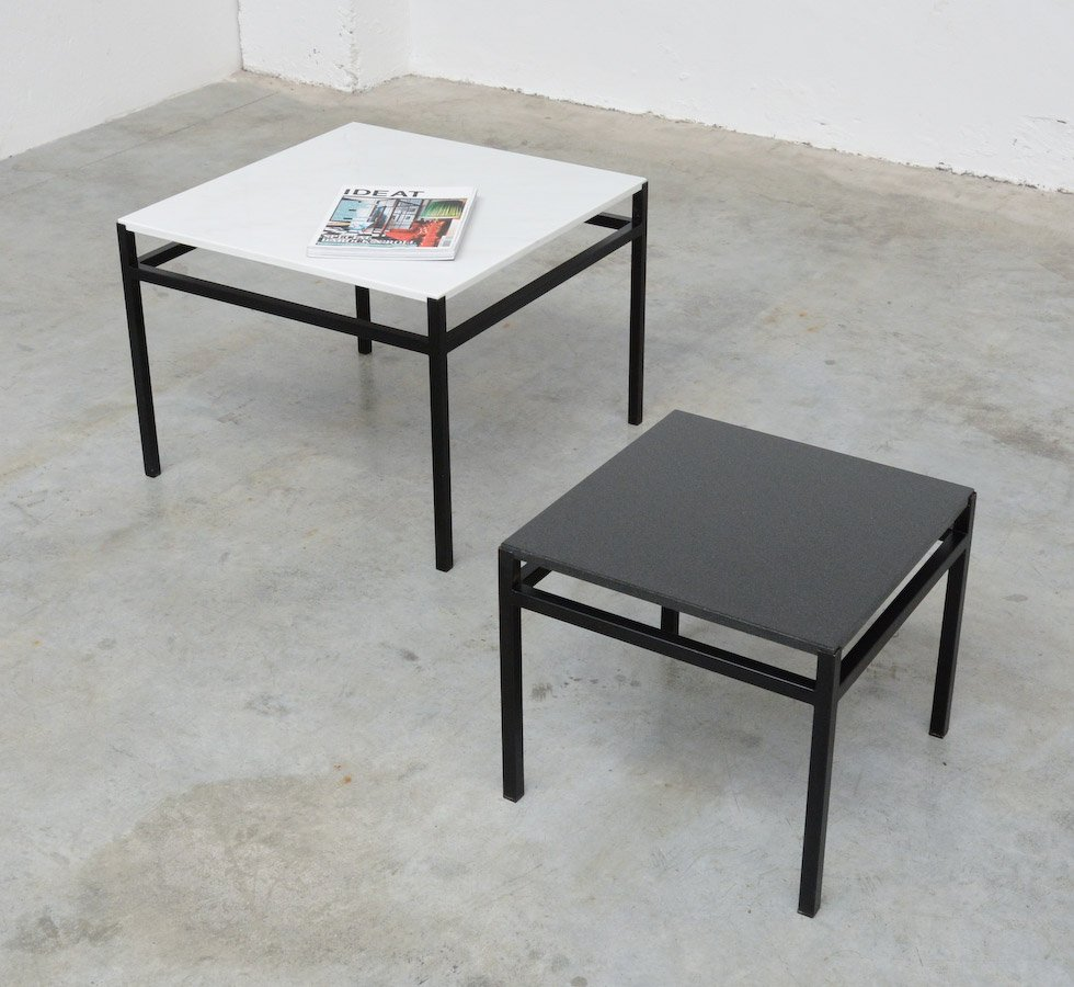 Minimalist Black White Side Tables 1960s Set Of 2 For Sale At Pamono