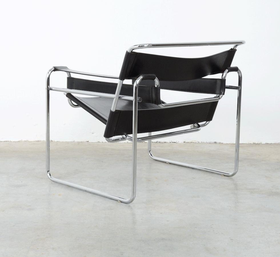chaise wassily par marcel breuer pour fasem 1983 en vente sur pamono. Black Bedroom Furniture Sets. Home Design Ideas
