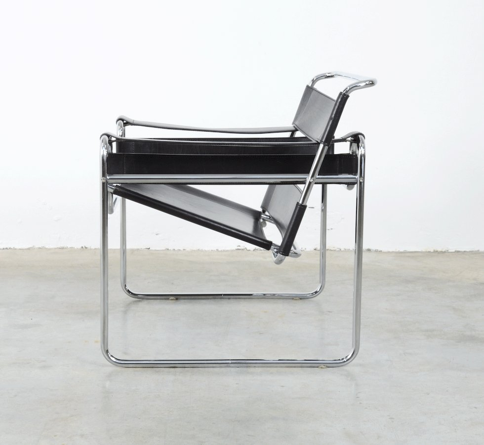 chaise wassily par marcel breuer pour fasem 1983 en vente sur pamono. Black Bedroom Furniture Sets. Home Design Ideas